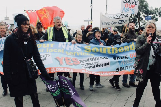 Photograph of Save Our NHS Southend campaigners at Pier Hill, Southend-on-Sea.