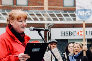 Photograph of NHS Consultant addressing Save Our NHS Southend supporters at rally at the top of the High Street, Southend-on-Sea.