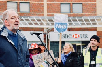 Photograph of Jerry Glazier (General Secretary, Essex NUT) addressing Save Our NHS Southend supporters at rally at the top of the High Street, Southend-on-Sea.