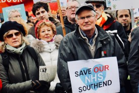 Photograph of Save Our NHS Southend campaigners at rally at the top of the High Street, Southend-on-Sea.