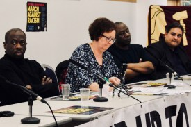 Photograph of chair Sharon Campion (Secretary, UNISON Sandwell) and speakers from final plenary: 'Mobilising for the 17 March day of international protests' at the Stand Up To Racism - Trade Union Conference. (10.02.18)