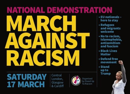 Image of poster for March Against Racism national demonstration on Saturday 17 March 2018.