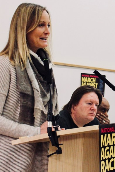 Photograph of Clare Moseley (Care4Calais) addressing trade unionists at the Stand Up To Racism - Trade Union Conference. (10.02.18)
