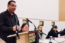 Photograph of Ian Lawrence (NAPO General Secretary) addressing trade unionists at the Stand Up To Racism - Trade Union Conference. (10.02.18)