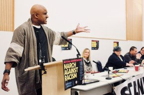 Photograph of Roger McKenzie (UNISON Assistant General Secretary) addressing trade unionists at the Stand Up To Racism - Trade Union Conference. (10.02.18)