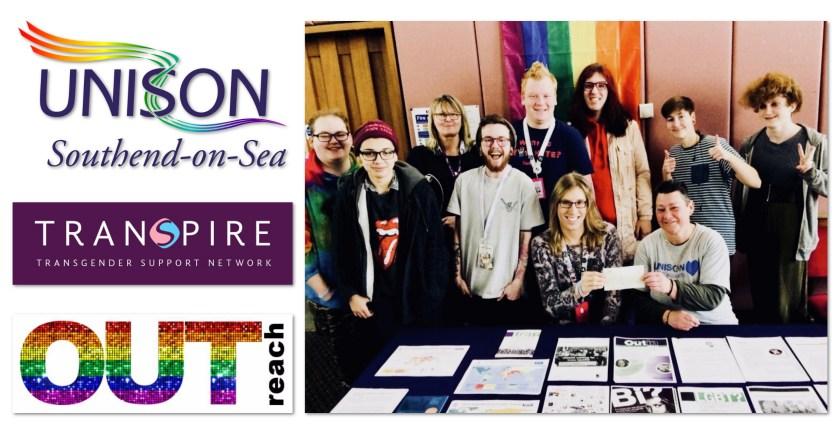 Image displaying UNISON Southend-on-Sea (with Rainbow Flag ribbons), Transpire and OUTreach logos (on the left) and a group photograph of associated members (on the right).