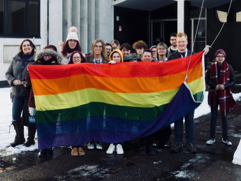 Photograph of UNISON Southend-on-Sea, Transpire and OUTreach members joining together to raise the Rainbow Flag.