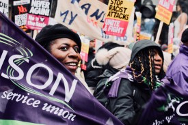 Photograph of Margaret Greer (UNISON National Race Equality Officer) and UNISON Members MARCH AGAINST RACISM from Portland Place to Whitehall, London. (17 March 2018)