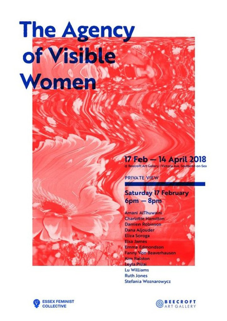 Image of poster for the Essex Feminist Collective's exhibition 'The Agency of Visible Women' at Beecroft Art Gallery.