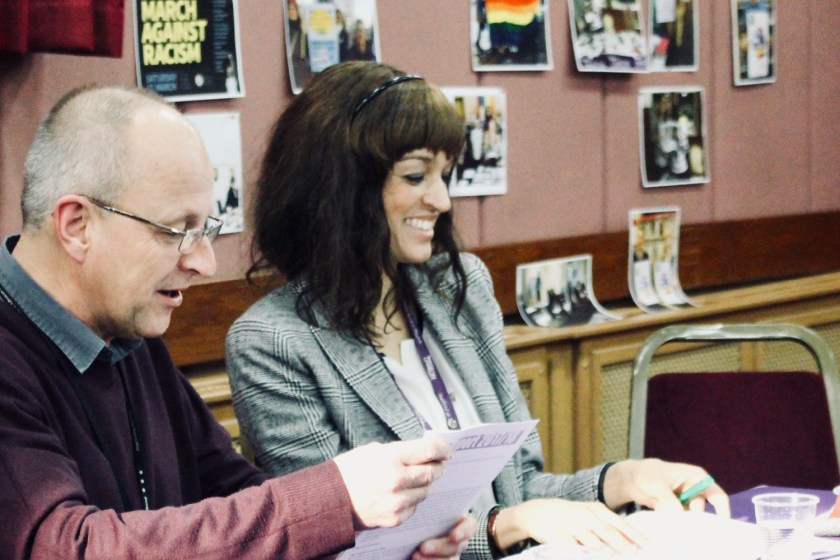 Photograph of Steve Cooper (outgoing Branch President) and Louise McDermott (incoming Branch President) co-chairing AGM.