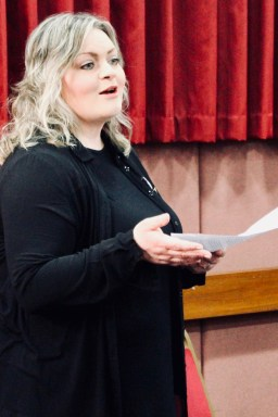 Photograph of Guest Speaker Kate Sheehan (Save Our NHS Southend Campaigner) addressing UNISON Southend-on-Sea members at AGM 2018.