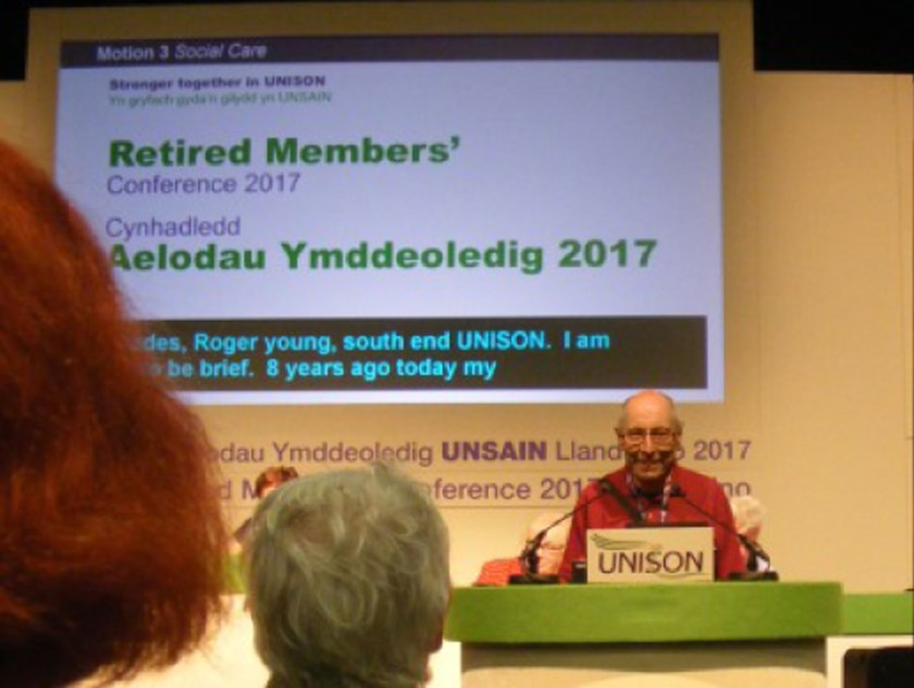 Photograph of Roger Young (Retired Members' Officer) speaking at Retired Members Conference 2017.