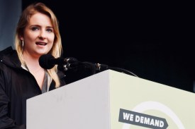 Photograph of GMB member addressing TUC rally at Hyde Park, London. (12 May 2018)