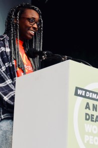 Photograph of McStriker addressing TUC rally at Hyde Park, London. (12 May 2018)