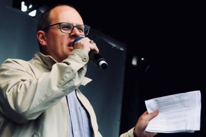 Photograph of Paul Nowak (TUC Deputy General Secretary) addressing TUC rally at Hyde Park, London. (12 May 2018)