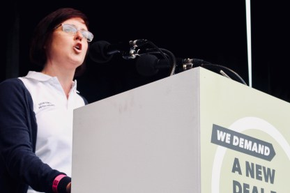 Photograph of Chartered Society of Physiotherapy member addressing TUC rally at Hyde Park, London. (12 May 2018)