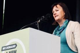 Photograph of Sheila Nunan (Irish Congress of Trade Unions (ICTU) President) addressing TUC rally at Hyde Park, London. (12 May 2018)