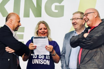 Photograph of speakers at the TUC rally at Hyde Park, London. (12 May 2018)