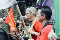 Photograph of Sam Adams (Member, UNISON Southend-on-Sea), Claire Wormald (Secretary, UNISON Southend-on-Sea) and Ray Lacey (Member, UNISON Southend-on-Sea) at TUC march and rally on 12 May 2018.