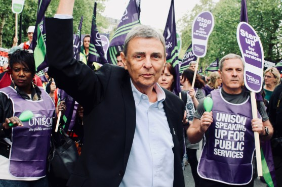 Photograph of Dave Prentis (UNISON General Secretary) and UNISON members at TUC march on 12 May 2018.