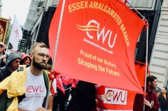 Photograph of CWU Essex Amalgamated Branch at TUC march on 12 May 2018.