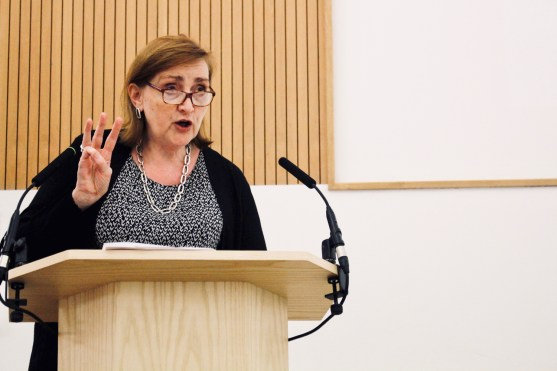 Photograph of Emma Dent Coad (Labour Party Member of Parliament for Kensington) addressing attendees at The People's Assembly Against Austerity CHANGE IS COMING conference.