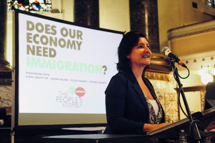 Photograph of Professor Özlem Onaran (Professor of Economics, University of Greenwich) addressing attendees at The People's Assembly Against Austerity CHANGE IS COMING conference.