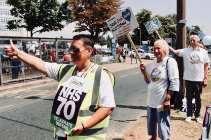 Photograph of UNISON Southend-on-Sea members and Save Our Southend NHS campaigners at the 'Happy Birthday Southend NHS!' event on Thursday 5th July, 2018.