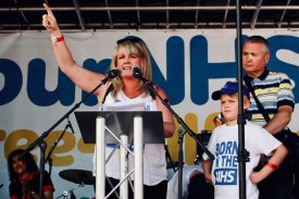 Photograph of Sally Lindsay (Actress) addressing 'Our NHS is 70' rally at Westminster, London. (30 June 2018)