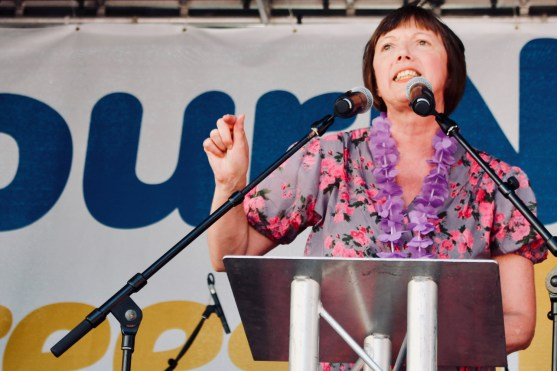 Photograph of Frances O'Grady (General Secretary of the Trades Union Congress (TUC)) addressing 'Our NHS is 70' rally at Westminster, London. (30 June 2018)