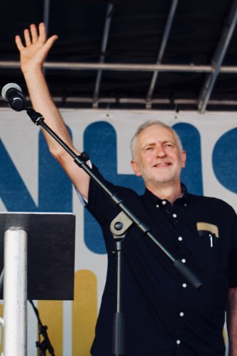 Photograph of Jeremy Corbyn (Leader of the Labour Party) addressing 'Our NHS is 70' rally at Westminster, London. (30 June 2018)