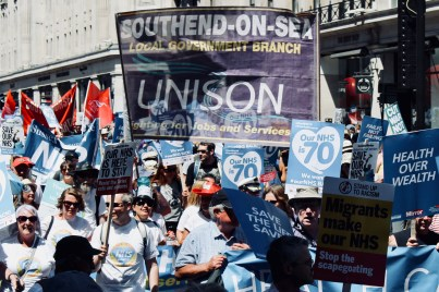 Photograph of UNISON Southend-on-Sea members and Save Our Southend NHS campaigners at the 'Our NHS is 70 Celebration & Demonstration' on Saturday 30th June.