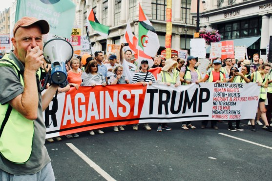 Photograph of protest vanguard at the TOGETHER AGAINST TRUMP National Demonstration on Friday 13th July.
