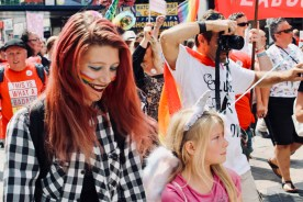 Photograph of Southend Pride Parade along the High Street, Southend-on-Sea.