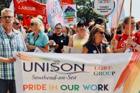 Photograph of UNISON members on Southend Pride Parade.