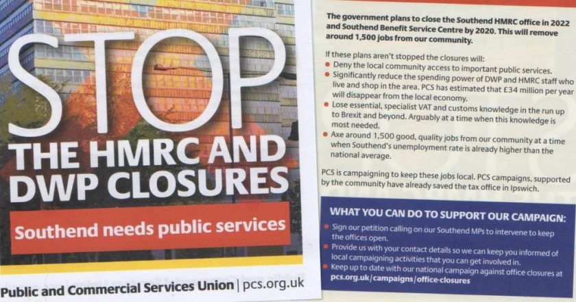Announcement/decorative image showing details from the STOP THE HMRC AND DWP CLOSURES campaign flyer – full flyer text transcribed in post.