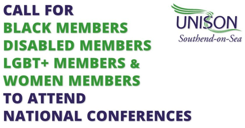"Announcement graphic reading: ""CALL FOR BLACK MEMBERS; DISABLED MEMBERS; LESBIAN, GAY, BISEXUAL AND TRANSGENDER MEMBERS; AND WOMEN MEMBERS TO ATTENDED NATIONAL CONFERENCES."""