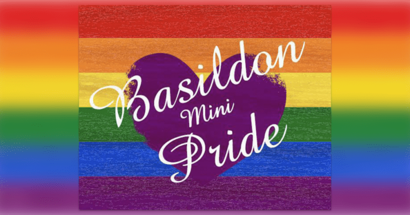 "Announcement graphic showing a rainbow flag overlaid with text reading: ""BASILDON mini-PRIDE."""