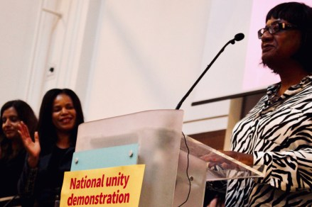 Photograph of Diane Abbott (Labour Party MP, Hackney North and Stoke Newington | Shadow Home Secretary) addressing attendees at STAND UP TO RACISM International Conference 2018.