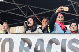 Photograph of speaker addressing the 'National Unity Demonstration Against Fascism & Racism' rally at Whitehall, London on Saturday 17th November 2018.