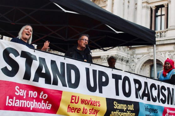 Photograph of Tom Robinson addressing the 'National Unity Demonstration Against Fascism & Racism' rally at Whitehall, London on Saturday 17th November 2018.