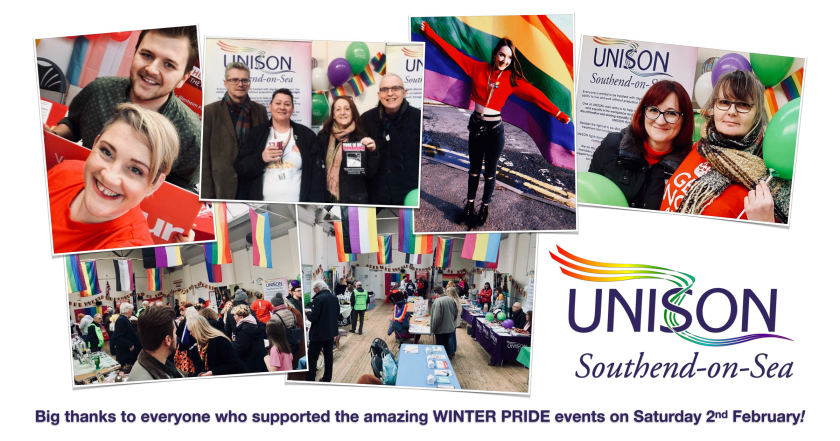 "Assortment of photographs sourced from UNISON members and social media channels, taken during the WINTER PRIDE events on Saturday 2nd February. Alongside these images is the Southend UNISON branch logo and a caption reading: ""Big thanks to everyone who supported the amazing WINTER PRIDE events on Saturday 2nd February!"""