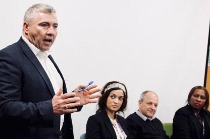 Photograph of Guest Speaker Chris Jenkinson (Regional Secretary for UNISON Eastern) addressing Southend UNISON members at AGM 2019.