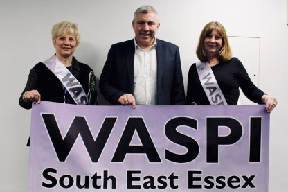 Photograph of WASPI South East Essex representatives and Chris Jenkinson (Regional Secretary for UNISON Eastern) at Southend UNISON AGM 2019.