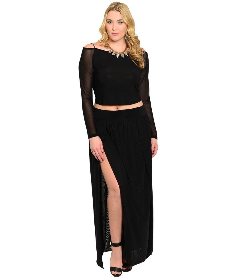 d0cd3a43db8019 Shoulder Crop Top Long Skirt