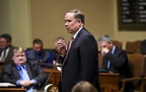 Republican Rep. Jim Knoblach of St. Cloud speaks on the House floor in St. Paul on Thursday, March 19, 2015. Knoblach has reclaimed the chairmanship of the House Ways and Means Committee after an eight year absence. (Pioneer Press: Ben Garvin)