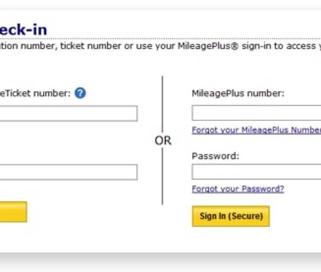 Log In Using Your Mileageplus Account Information