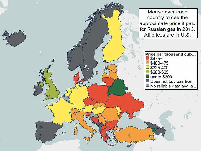 Mapa de precios del gas ruso en Europa