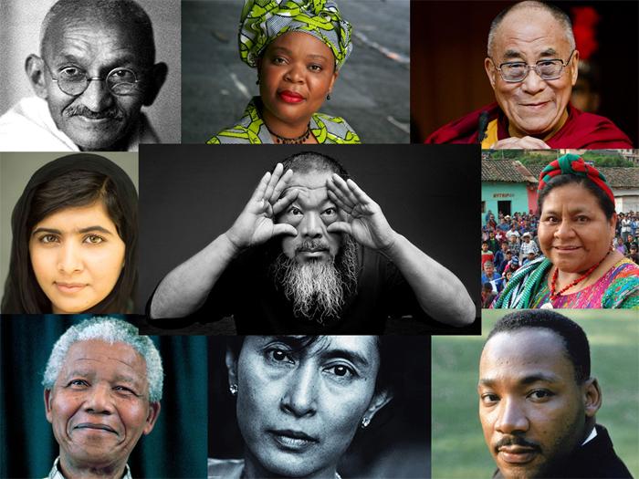 Grandes luchadores de la Indefensión Aprendida: Mahatma Gandhi y Martin Luther King hasta Ai Weiwei pasando por Malala Yousafzai y Rigoberta Menchú. Foto: composición propia