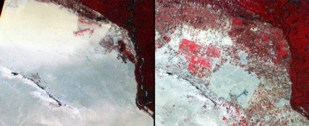Crecimiento agrícola, Egipto (Agosto 1972 – julio 2003): La cantidad de tierra dedicada a la agricultura cerca del delta del noroeste de El Cairo aumentó drásticamente en este periodo. Los cultivos más comunes son el algodón, el arroz, el maíz, las patatas, las naranjas y el trigo.